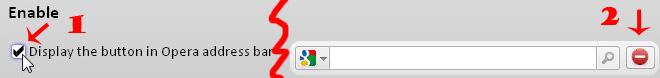 Display the button in Opera address bar